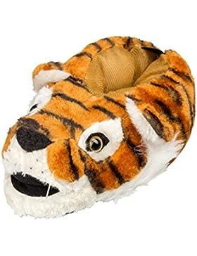 GIBRA® Hausschuhe Tierhausschuhe Tiger für Kinder, Art. 0816, braun, Gr. 28/29- 34/35
