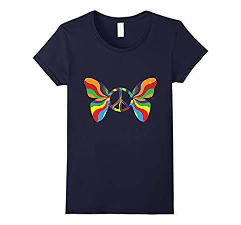 Women's Groovy Peace Sign Butterfly t-shirt Large