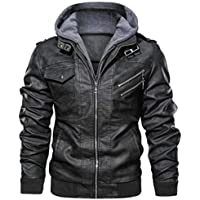 Black Leather Bomber Style Leather Jacket With Hoodie, Baseball Jackets (LARGE)