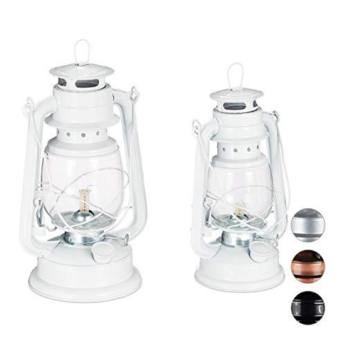 Relaxdays Petroleumlampe 2er Set, echte Öllampe als Fensterdeko oder Gartenlaterne, mit Henkel, 24 und 28 cm, weiß