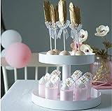 Ablageschalen 2 Schichten Cupcake Ständer Metall Weiß Hochzeitstorte Werkzeuge Parfüm Bilden Display Party Event Dekoration - 2