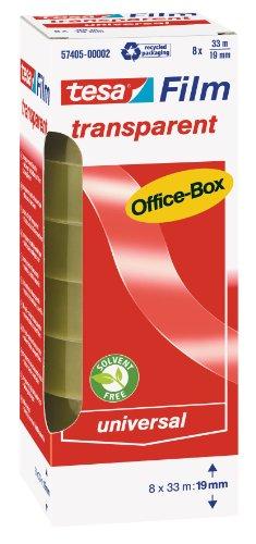 tesafilm Klebeband, transparent, Office-Box mit 8 Rollen, 33m x 19mm