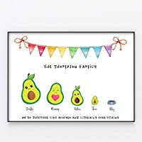 Avocado Family Print, Wall Art Gift for Home Personalised, Framed in A3 or A4