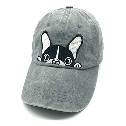 d25201935 Waldeal Embroidered Cartoon Boston Terrier Bulldog Vintage Distressed Dad  Hat Baseball Cap Dog Mom Dad Gift