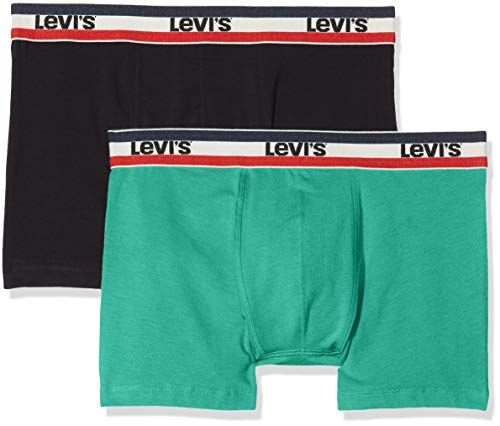 Levi's Herren Boxershorts Levis 200SF SPRTSWR Logo Color Boxer Brief 2P 2er Pack, Mehrfarbig (Green/Black 315) Medium