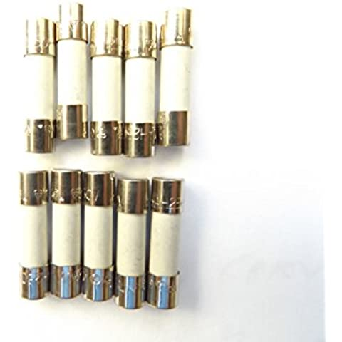 Fusible 1,6 A 20 mm HBC contra sobretensiones/retardo de tiempo T1.6A H 250 V cerámica x10Pcs
