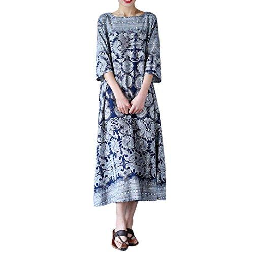 Damen Kleid, Btruely Blumen Drucken Beiläufig Lose Lange Maxi Kleid Verschiedene Größen (XXXL, Blau) (Größe Tunika Plus Drucken)
