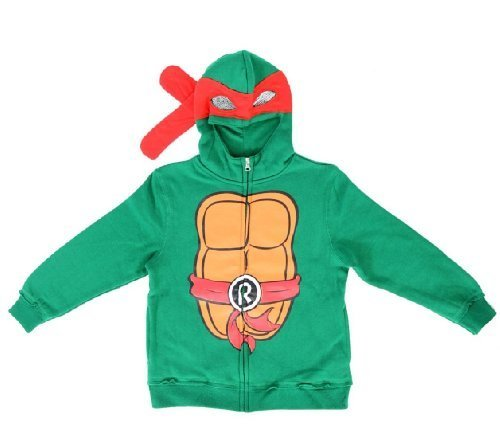 Turtles Raphael Jungen Kostüm Zip Up Hoodie Sweatshirt (Jungen 10/12) (Teenage Mutant Ninja Turtles Kinder Kostüme)