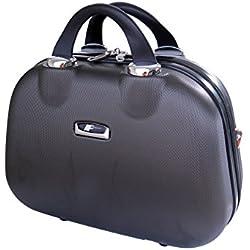 P-Collection Koffer Trolley Handgepäck Hartschale 4 Zwillingsrollen (Anthrazit Beautycase)