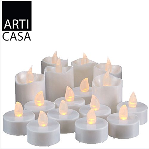 Set 16 Candele Led a Batteria Tea Light Elettroniche con Effetto Flickering Movimento Fiammella per Illuminazione e Arredamento Casa o Giardino