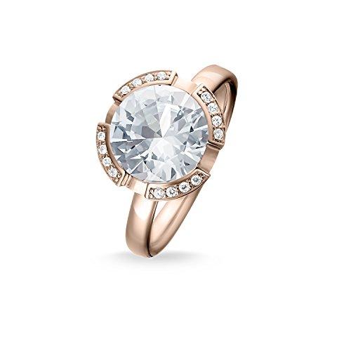 Thomas Sabo Damen-Ring Glam & Soul 925 Sterling Silber 750 rosegold vergoldet Zirkonia weiß Gr. 56 (17.8) TR2038-416-14-56
