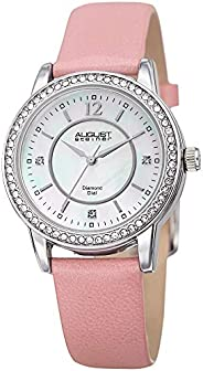 August Steiner Women's Analog Quartz Watch With Leather Strap As8227Pk, Pink