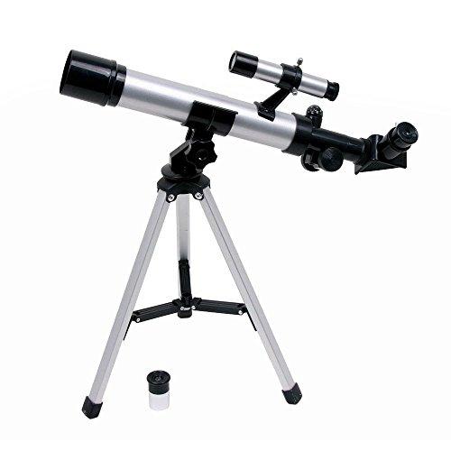Teleskop mit Alustativ, inkl. 2 Linsen und Kreiselkompass sowie Richtfernrohr, ein tolles Entdeckerspielzeug für kleine Astrologen ab 5 Jahren