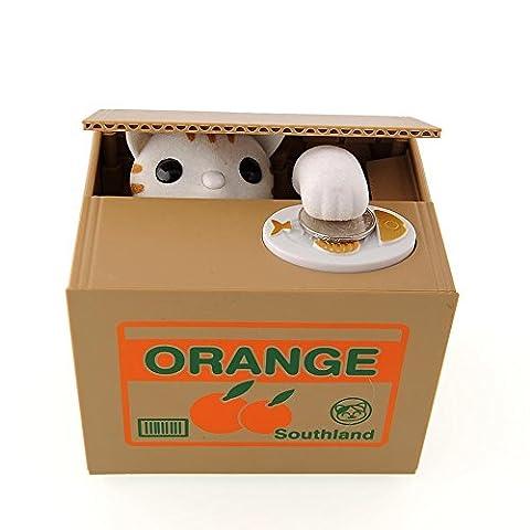 Peradix Gelddose Diebstahl Katzen Elektronische Spardose witziges Geschenk für Kinder (Weiß-Katze)