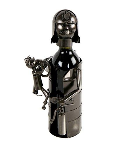 Feuerwehrmann Flaschenhalter Metall Weinflaschenhalter Sekthalter Retter Deko