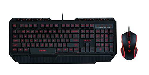 Rapoo VPRO V100 beleuchtete Gaming Tastatur und Maus (3000 DPI, Combo Set, Multi-color Beleuchtung, Anit-Ghosting, On-Board Speicher, programmierbare Tasten, QWERTZ deutsches Layout) schwarz
