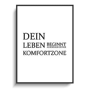 Design Schwarz Weiß Spruch DIN A4 Plakat Leben Komfortzone ohne Rahmen Motivation Sport Schule Fitness Selbstbewusstsein Gym Gastgeschenk Wohnung