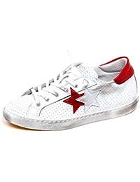 0fda0740c56ad 2Star F3716 Sneaker Donna White Red Scarpe Vintage Effect Shoe Woman