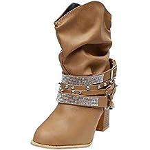 LuckyGirls Botas Zapatos de Tacón para Mujer Remaches Rhinestones Hebilla  Moda Sexy Botitas de Media Caña 596e6e47fd1fd