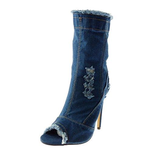 Angkorly - Damen Schuhe Stiefeletten - Stiletto - Jeans Denim - Peep-Toe - ausgefranst - zerrissene Stiletto high Heel 12 cm - Dunkelblau B7621 T 37