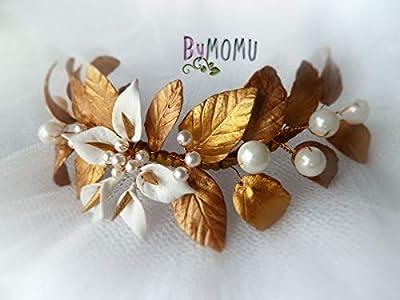 Coiffure Bride Parure Feuilles d'Or et de lis pour les cheveux -Fleurs Porcelaine-porcelaine à froid Accessoires pour les cheveux mariée-peigne à cheveux