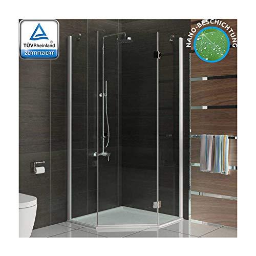 Duschkabine Dusche Duschabtrennung Fünfeck 100x100x195 Duskabine mit Antikalk / Easy Clean Glas
