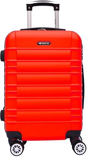 SHAIK® Serie CLASSIC JFK Design Hartschalen Trolley, Koffer, Reisekoffer, in 3 Größen M / L / XL / Set 40/78/124 Liter, 4 Doppelrollen Zwillingsrollen, Zahlenschloss (Handgepäck, Rot)
