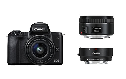 Canon Digital Adapter (Canon EOS M50 schwarz EF-M 15-45 + EF Adapter + EF 50 1.8 Kit)