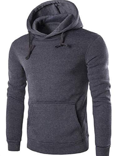 Yeirui Men Pullover Hooded Solid Fleece Hoodie with Pockets Dark Gray US M -