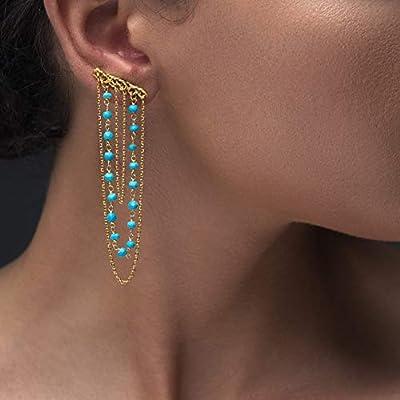 Boucles d'oreilles longues en argent sterling 925 avec chaîne de chapelet pendante, faites de véritables pierres turquoise, faites à la main par Emmanuela, boucles d'oreilles boho chic grimpeur
