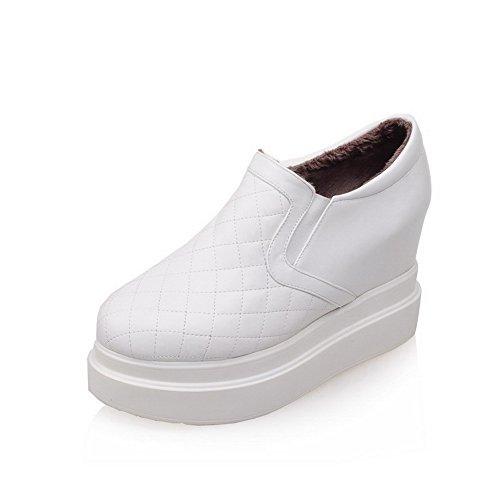 Alto Rotonda Tacco Colore Bianco Voguezone009 Scarpe Donna Cuoio Leggere Solido Tira Rqpawn4T