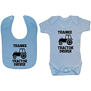 Acce Products Trainee Tractor Driver Baby Bodysuit/Romper & Feeding Bib - 6-12 Months - Blue
