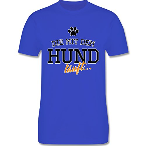 Hunde - Die mit dem Hund läuft - Herren Premium T-Shirt Royalblau