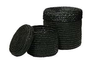 2 Round Black Straw Storage Baskets