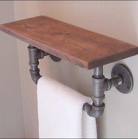 Tubo d'epoca mensola in ferro battuto dell'assicella di legno due livelli di stoccaggio cremagliera bagno mensola-YU&XIN