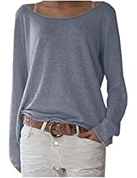 39e86a2613c ZANZEA Women s Sexy Casual Autumn Loose Round Neck Long Sleeve Tops Blouse  Jumper T-Shirt