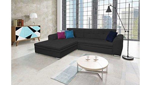 JUSTyou Sorento Canapé d'angle Sofa canapé lit Simili Cuir (HxLxl): 87x295x195 cm Noir Angle Gauche