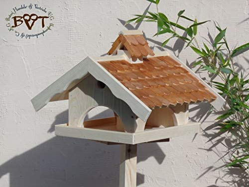 VOGELHAUS+NISTKASTEN, K-VONI5-dbraun002,groß,wetterfest,PREMIUM-Qualität,Vogelhaus,VOGELFUTTERHAUS + Nistkasten 100% KOMBI MIT NISTHILFE für Vögel WETTERFEST, QUALITÄTS-SCHREINERARBEIT-aus 100% Vollholz, Holz Futterhaus für Vögel, MIT FUTTERSCHACHT Futtervorrat, Vogelfutter-Station Farbe braun dunkelbraun schokobraun rustikal klassisch, Ausführung Naturholz MIT TIEFEM WETTERSCHUTZ-DACH für trockenes Futter