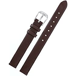 8mm Women's High-end Delicate Chocolate Brown Watch Straps Soft Genuine Italian Leather No Stitching