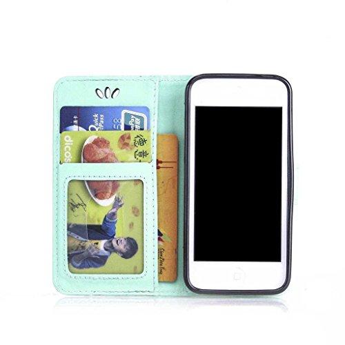 iPhone 7 Plus Hülle Ledertasche [mit Frei Hartglas Displayschutzfolie], KKEIKO® Schutzhülle PU Leder Tasche Hülle Case für Apple iPhone 7 Plus, Wickelfalz Handyhülle mit Bändselloch Standfunktion Kart Schmetterling #1