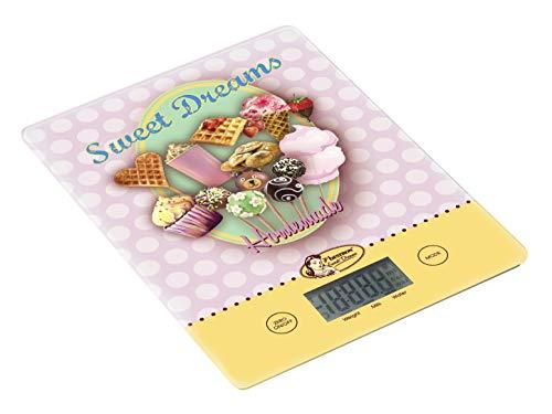 Bestron Balance de cuisine numérique avec écran LCD, Design rétro, Sweet Dreams, Capacité de charge : 5 kg, Précision au gramme près, Verre, Rose