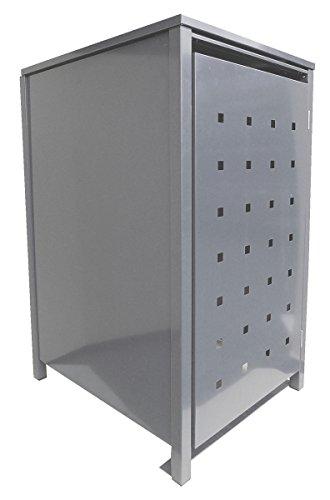 BBT@ | Hochwertige Mülltonnenbox für 1 Tonne je 120 Liter mit Klappdeckel in Silber (RAL 9006) / Stanzung 4 / Aus stabilem pulver-beschichtetem Metall / Verschiedene Farben + Blech-Stanzungen erhältlich / Mülltonnenverkleidung Müllboxen Müllcontainer