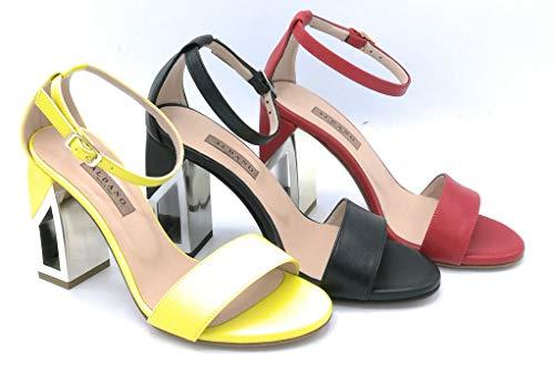 ALBANO 3148 Sandalo Nappa giallonerorosso Cinturino Caviglia Tacco Quadro 9cm - Taglia Scarpa 35 Colore Rosso