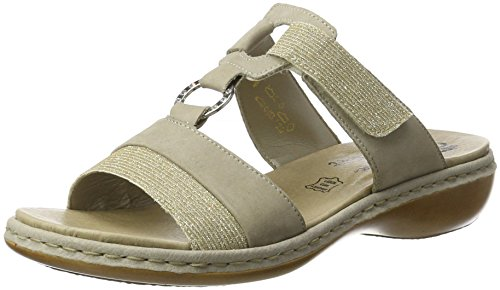 Rieker Ladies 65979 Mules Gray (lightgold / Steel / 91)
