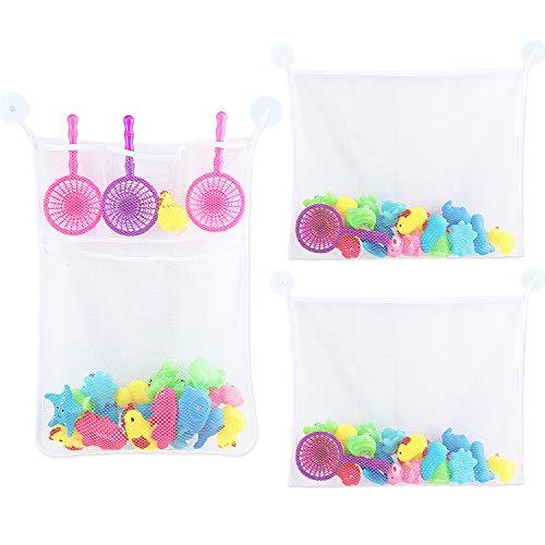 Frienda 3 Stücke Badespielzeug Organizer Badewanne Spielzeug Aufbewahrungstasche Kinder Spielzeug Netztasche für Baby Spielzeug, Shampoo, Seife -