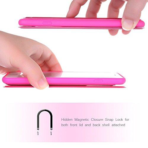 Nouske Étui avec fenêtre de visualisation Smart Sensor Touch pour Apple iPhone 6 6S 4.7 pouces, Noir Rose