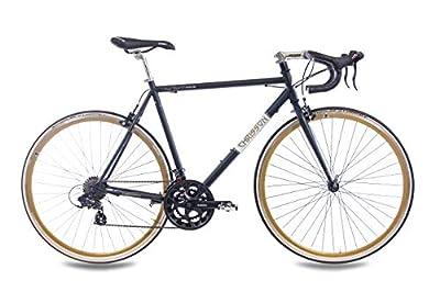 CHRISSON 28 Zoll Retro Rennrad Vintage Bike - Vintage Road 2.0 schwarz mit 14 Gang Shimano Tourney Schaltung, Urban Old School Fahrrad für Damen und Herren