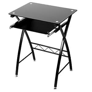 levv computer schreibtisch pc workstation metall boden glas top schwarz k che. Black Bedroom Furniture Sets. Home Design Ideas