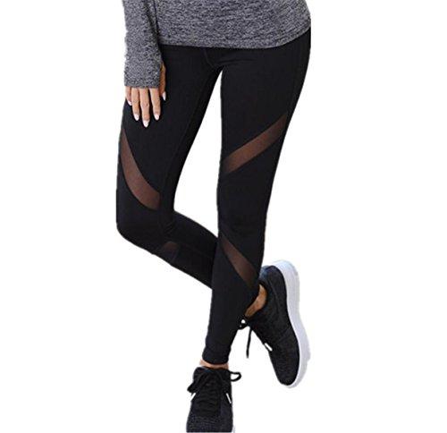 Longra Hey! Atractivo Leggings Deportivos,Pantalones de Yoga de Estiramiento de Cintura Alta de Las Polainas del Entrenamiento de la Mujer Negro, M (Tamaño Asiático)