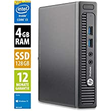 HP ProDesk 400 G1 Mini | Mini PC | Intel Core i3-4160T @ 3,1 GHz | 4GB DDR3 RAM | 128GB SSD | Windows 10 Home (Generalüberholt)
